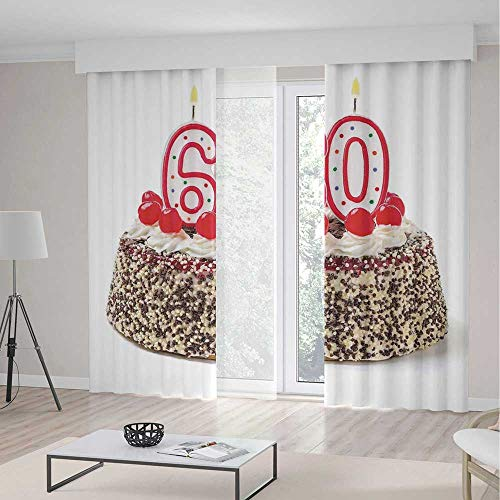 (TecBillion Decor Collection,60th Birthday Decorations,for Bedroom Living Dining Room Kids Youth Room,Happy Party Cake with Candles Cherries and Sprinkles Image Photo,79Wx83L Inches)
