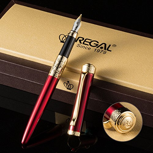 (REGAL Dragon & Phoenix Collection Fountain Pen Red Color, Classic Design, Medium Nib Gift Box Set & Ink Refill Converter)