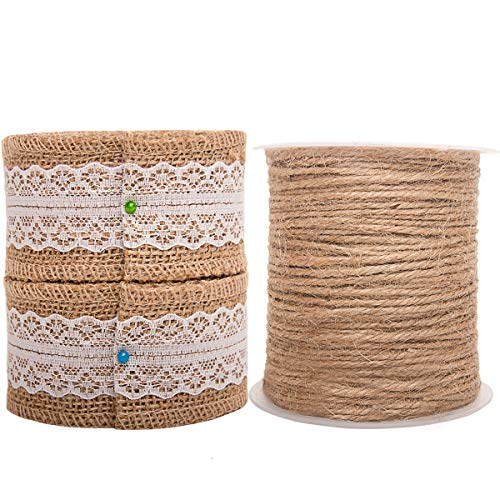 Burlap Ribbon Twine Set for Crafts Wired 2 Inch Gift Ribbon Jute String on Spool for Rustic Wedding Party -