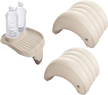 Juego de accesorios de 3 piezas para piscinas de hidromasaje Intex PureSpa (1 bandeja 28500, 2 reposacabezas 28501)