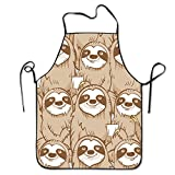 BRIGHT Unisex Sloth Funny Faces Chef&Cook Kitchen Bib Apron Waterproof Perfect For CookingBakingCraftingBBQ