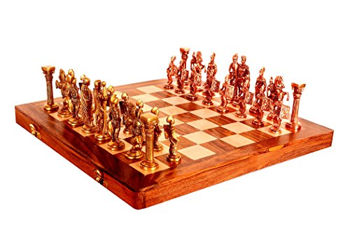 (Purpledip Chess Set with Brass Sculpted Pieces in Ancient Roman Style and Wooden Board