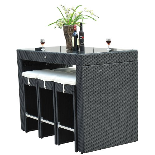 Outsunny 7pc Rattan Wicker Bar Stool Dining Table Set