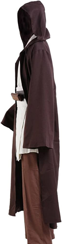 Cosplaysky Adult Tunic Hooded Robe Outfit for Jedi Costume