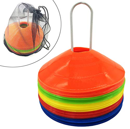 YYINGG Disc Cone Set with Holder Field Marker 50 Pcs Soccer Cones for Training, Soccer, Football, Basketball,Kids ()