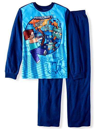 Minecraft Boy's 2-Piece Pajama Set (Large 10-12, Blue) (Minecraft Characters Set)