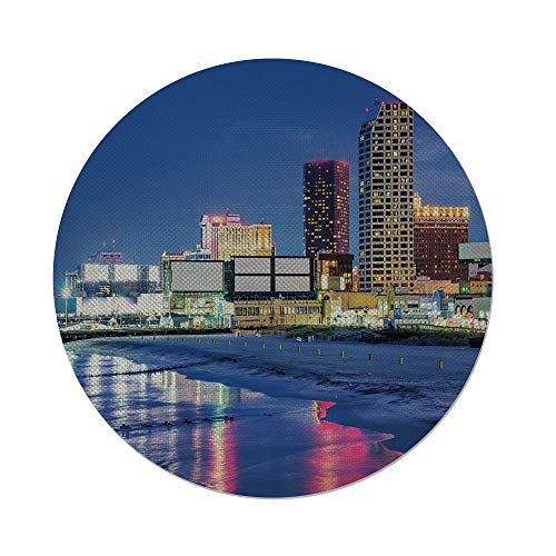 iPrint Cotton Linen Round Tablecloth,City,Resort Casinos on Shore at Night Atlantic City New Jersey United States,Violet Blue Pink Yellow,Dining Room Kitchen Table Cloth Cover -