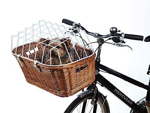 Hunde Fahrradkorb abgeschrägt mit Gitter, Maße: B54 x T39 x H37 cm, Steuerkopfmontage vo