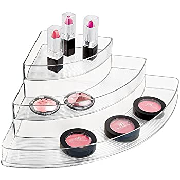 MDesign Corner Cosmetic Organizer For Vanity Cabinet To Hold Makeup Beauty Products