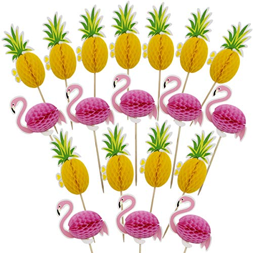 Hysagtek 100 Pcs 3D Flamingo Pineapple Cupcake Toppers DIY Cakes Topper Picks Snack Cupcake Decorations for Hawaiian Luau Summer Birthday Party Cake Food Decoration Supplies -