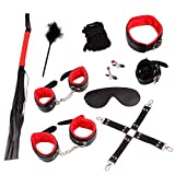 Unihoh Black and Red Leather Handcuffs Set with Comfortable Wrist and Ankle Cuffs Fits Almost Any Size-10 Pcs