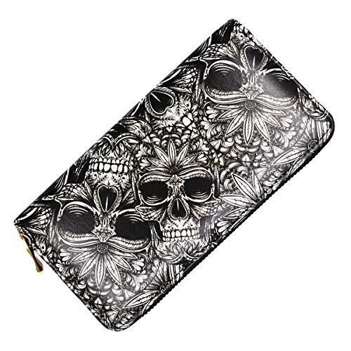 Day Dead Wallet Skull Unisex Long Clutch Large Capacity RFID Blocking Purse Billfold Wallet for Women and Men