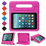 """MENZO Case for All-New Fire 7 inch 2017 - Kids Shock Proof Convertible Handle Light Weight Super Protective Stand Cover for All-New Fire Tablet(7"""" Display - 2017 Release Only), Rose"""