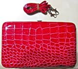 Red Clutch Frame Wallet Purse Detachable Strap IR *, Bags Central