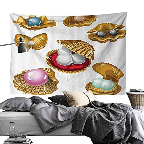 Gemstone Color Push Pins - Homrkey Polyester Tapestry Pearls Decoration Set of Open Shells with Different Type of Pearls Wealth Ancient Gemstone of The Sea Tapestry for Room W80 x L60 Multi