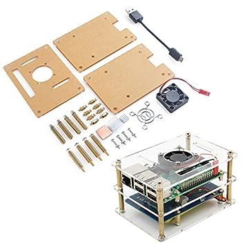 b672d03d6cc MakerHawk Raspberry Pi Case Doppelschichten Transparent Acryl Gehäuse mit  Lüfterkühlung System für Raspberry Pi 3 Modell
