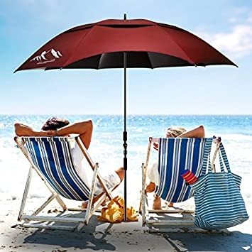 BESROY Portable Beach Umbrella – Outdoor Sunshade with Telescoping Pole, Windproof Stakes Carry Bag – UV Protection, 360 Rotating, for Beach, Patio, Pool, Terrace, Park