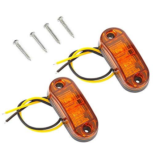 Pair Yellow 2 LED Front Side Marker Blinker Light Lamp 12/24V Truck Car Trailers Indicator: