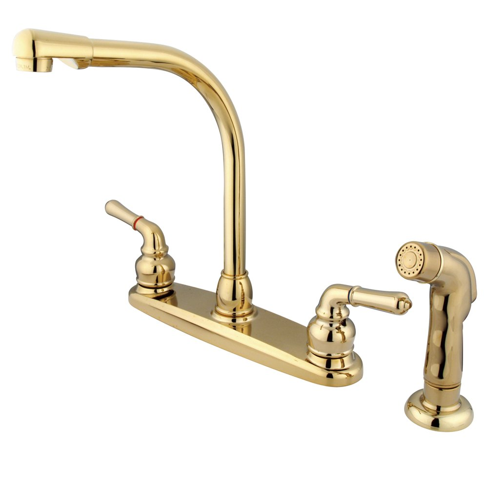 Kingston Brass KB752SP Magellan 8-Inch High Arch Kitchen Faucet with Sprayer, Polished Brass