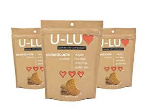 U-LUV Foods, Snicker-Doodle Cookies -- Vegan, Gluten Free, Dairy Free, Nut-Free, Soy-Free, Low Sugar, Low Fat, Low Calorie, NON-GMO, No Artificial Ingredients -- 4 oz (Pack of 3)