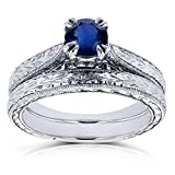 Round-cut Sapphire and Diamond Vintage Bridal Rings Set 1/2 Carat (ctw) in 14k White Gold