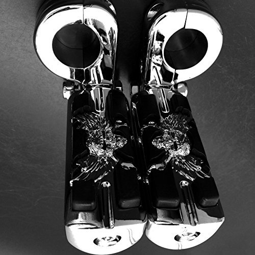 Wing Skull Zombie Shape 1 1/4'' Highway Stiletto 4475 Foot Pegs P-Clamps For Harley Sportster Touring Chrome Body Black Rubber Quality Product by XKMT-MOTORPARTS