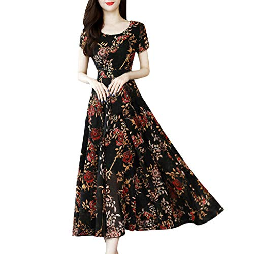 Excursion Clothing Women Short Sleeve Floral Print Long Dress, Casual O-Neck Daily Party Vacation Beach Comfy Maxi Ankle-Length Dresses (Fossil Women Hat)