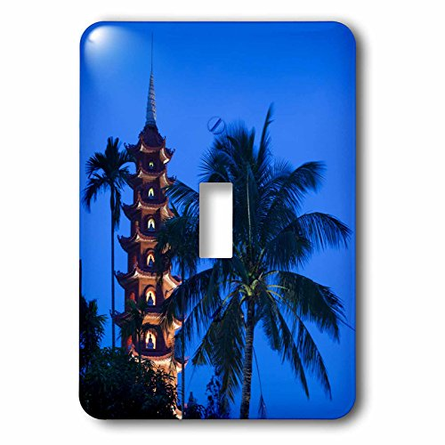 3dRose Danita Delimont - Vietnam - Vietnam, Hanoi. Tay Ho, West Lake, Tran Quoc Pagoda, dusk - Light Switch Covers - single toggle switch (lsp_257310_1)
