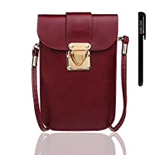 xhorizon TM SR Stylish PU Leather Crossbody Single Shoulder Bag Phone Pouch with Shoulder Strap for iPhone6/6s 6/6sPlus/5S/4S Samsung S6/S5/S4/S3/Note3/2, and Most Cell Phone Under 5.5 inch