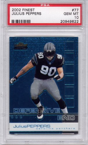 Peppers Gems (2002 Finest Julius Peppers Rookie Carolina Panthers #77 PSA 10 GEM MT (Graded Football Cards))