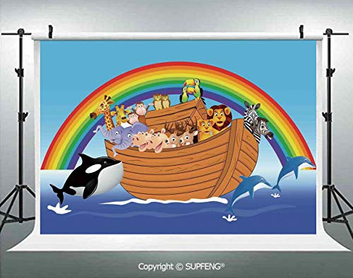 Photo Backdrop Noahs Ark with Funny Cute Animals Dolphins Swimming in Artistic Design Print 3D Backdrops for Interior Decoration Photo Studio Props (Noahs Ark Back Drop)