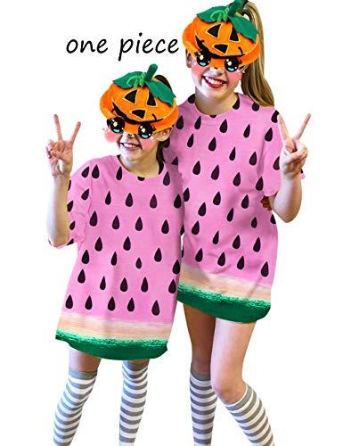 UNIFACO Kids Girls Cosplay Halloween T Shirt Dress Watermelon Festivel Short Sleeves Style 9-10 by UNIFACO