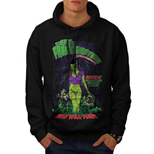 wellcoda Frankenstein Bride Mens Hoodie, Monster Hooded Sweatshirt Black 2XL