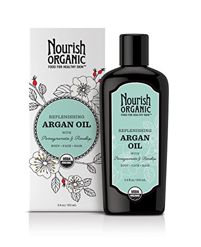 Nourish Organic Replenishing Purpose Argan Oil, For Body, Face and Hair with Pomegranate and Rosehip, 3.4 Ounce - Packaging May Vary