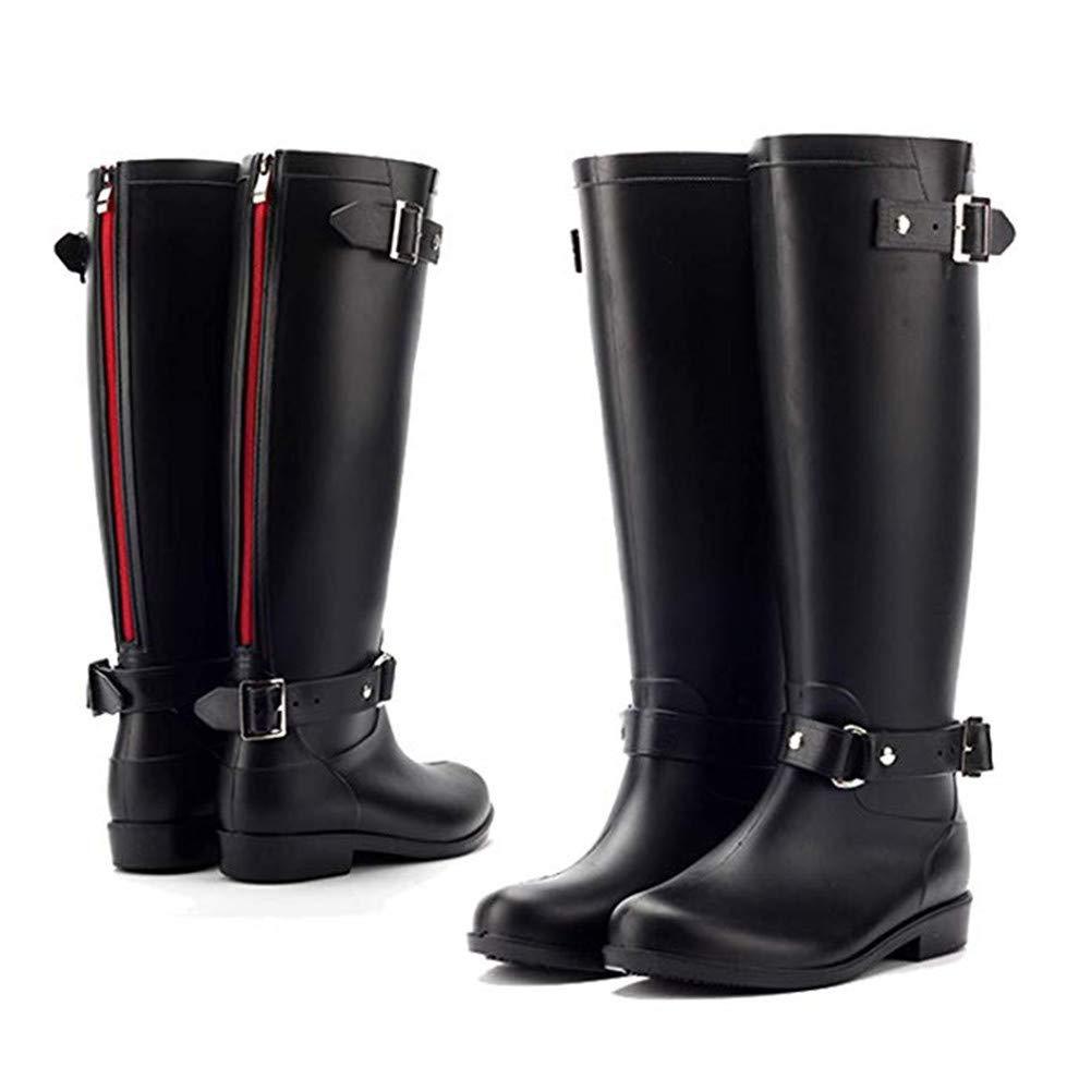 tqgold Gummistiefel Damen Langschaft Frauen Hoch Regenstiefel mit Reiß verschluss Gartenarbeit Mode Outdoor Boots