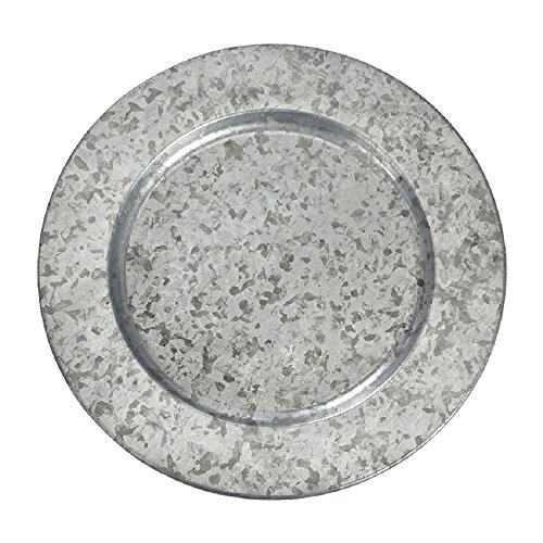 (Set of 4 Galvanized Tin Charger Plates.)