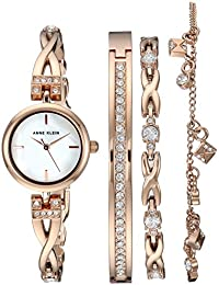 Womens Swarovski Crystal Accented Rose Gold-Tone Watch and Bracelet Set