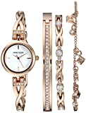 Anne Klein Women's AK/3082RGST Swarovski Crystal Accented Rose Gold-Tone Watch and Bracelet Set