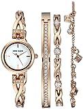 Anne Klein Women's AK/3082RGST Swarovski Crystal Accented Rose Gold-Tone Watch and Bracelet Set