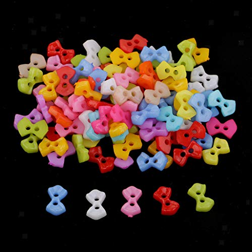 100pcs Colorful Mini Resin Buttons 2-Holes for DIY Sewing Scrapbooking 5-6mm (Style - Bow Tie)