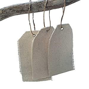 Natural Canvas Gift Tags, Hanging Fabric Bombonieres, 2.75 x 4.75 inch, Fringed Edge, Rustic Wedding Party Favors, (36 Pack)
