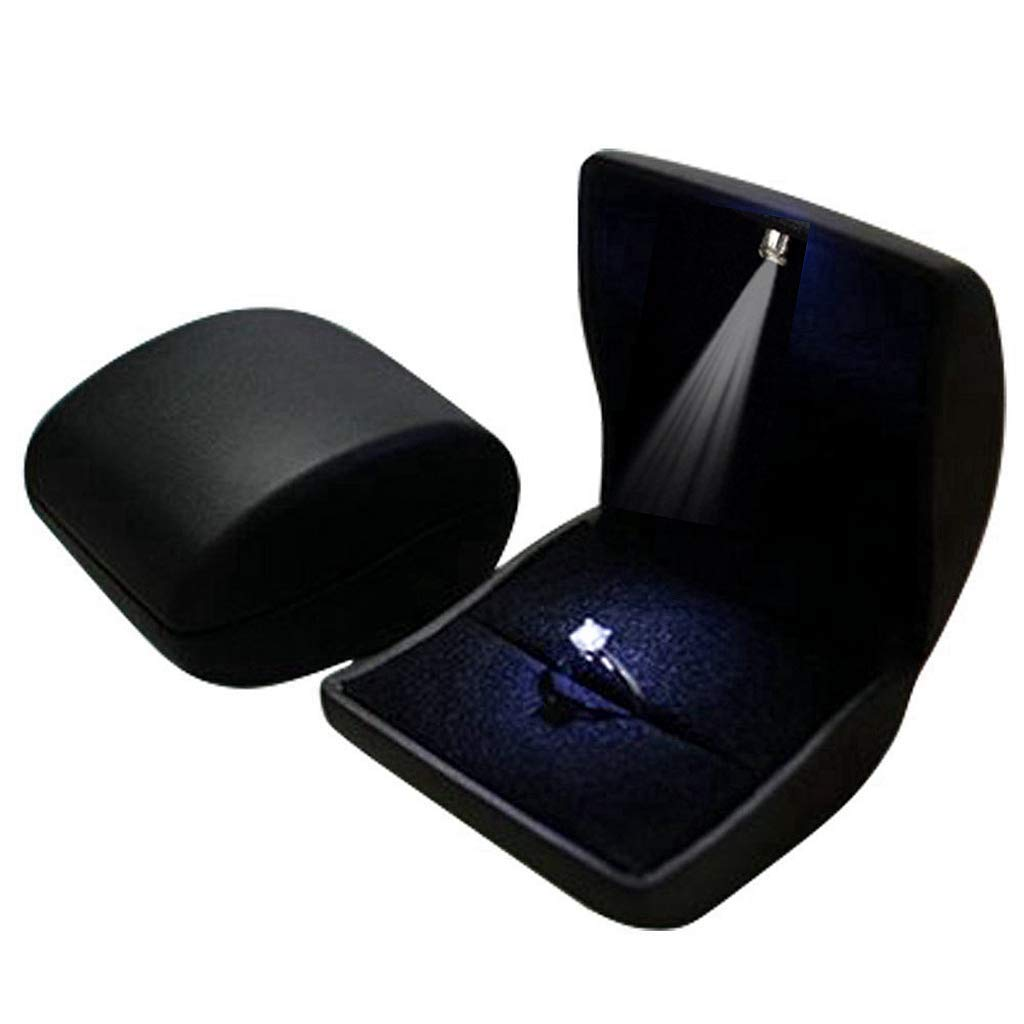 Lily Treacy PU Leather Jewelry, Ring Box, Case, with LED Lighted up for Proposal, Engagement, Wedding, Gift, Coin, Earrings (Black) LETLLC