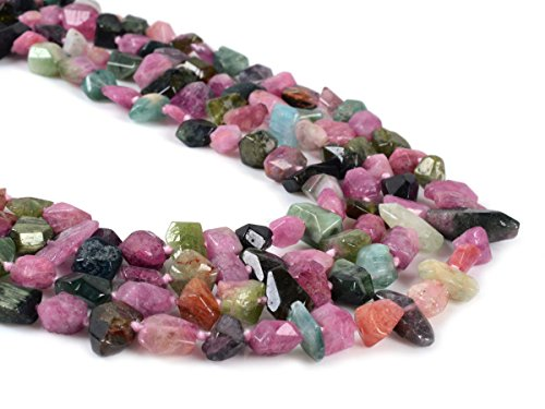 (Justinstones Faceted Multi-color Tourmaline Nugget Gemstone Beads Knotted Strand 17