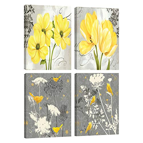 Yellow and Gray Grey Flower Birds Wall Art Abstract Floral Watercolor Print Canvas Home Decor Pictures 4 Panels Poster for Bedroom Living Room Office Painting Framed Ready to Hang(12 x 16 x 4pcs,1)