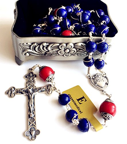 Handmade Sterling 925 Silver Lapis Lazuli Beads Rosary Cross Crucifix Catholic Necklace Gifts by elegantmedical (Image #9)