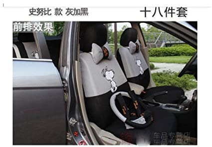Gray And Black Color 18pc Snoopy Car Seat Covers Cartoon Cushion