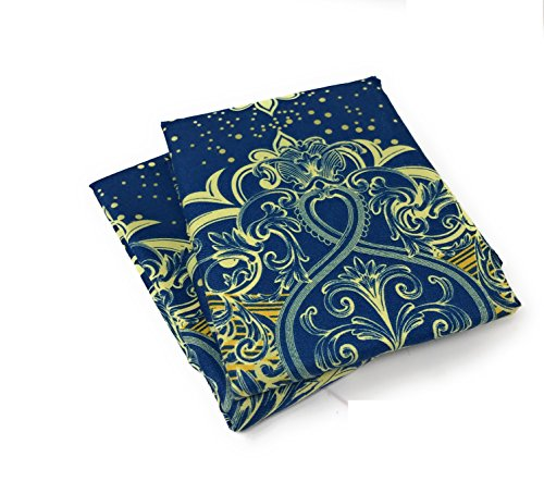 Tache Navy Blue Yellow/Gold Damask Pillowcase - Star Gazing