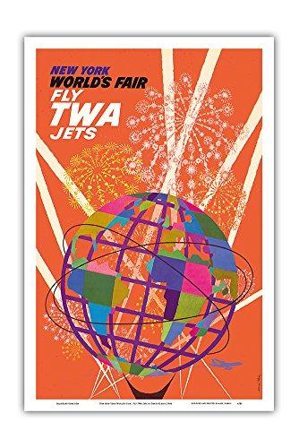 Pacifica Island Art 1964 New York World's Fair - Fly TWA Jets (Trans World Airlines) - Unisphere Globe - Vintage World Travel Poster by David Klein c.1964 - Master Art Print - 12in x 18in