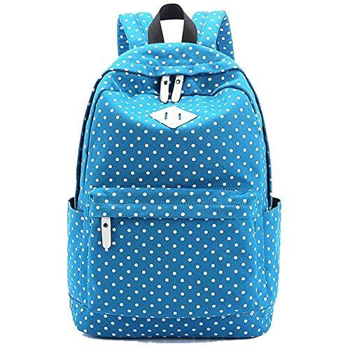 Carey Rebecca Lightweight Casual Canvas School Bag, Dot Design Travel Backpack,SkyBlue ()