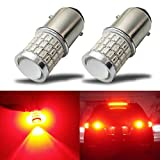 iBrightstar Newest 9-30V Super Bright Low Power 1157 2057 2357 7528 BAY15D LED Bulbs with Projector replacement for Tail Brake Lights,Brilliant Red